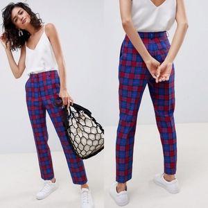 ASOS DESIGN Blue and Red Check Slim Pants Plaid